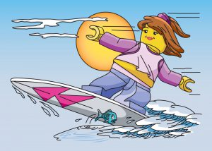 LEGO Girl surfing wave