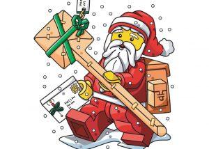 LEGO Santa delivering