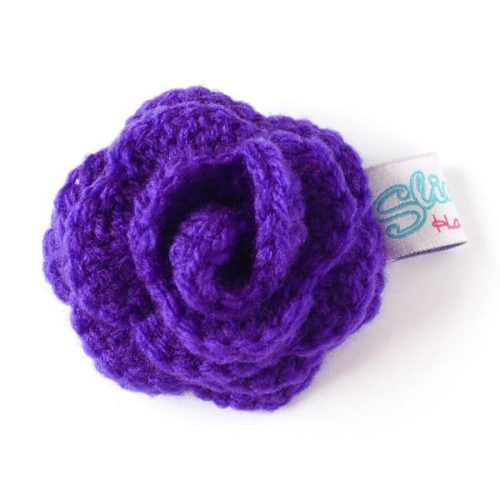 Purple rose brooch front