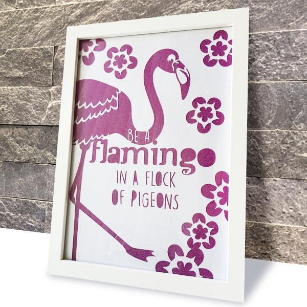 Be A Flamingo artwork against wall