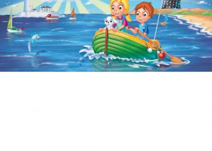 Two kids and a dog in their boat on the sea