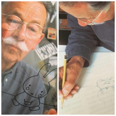 Dick Bruna drawing Miffy