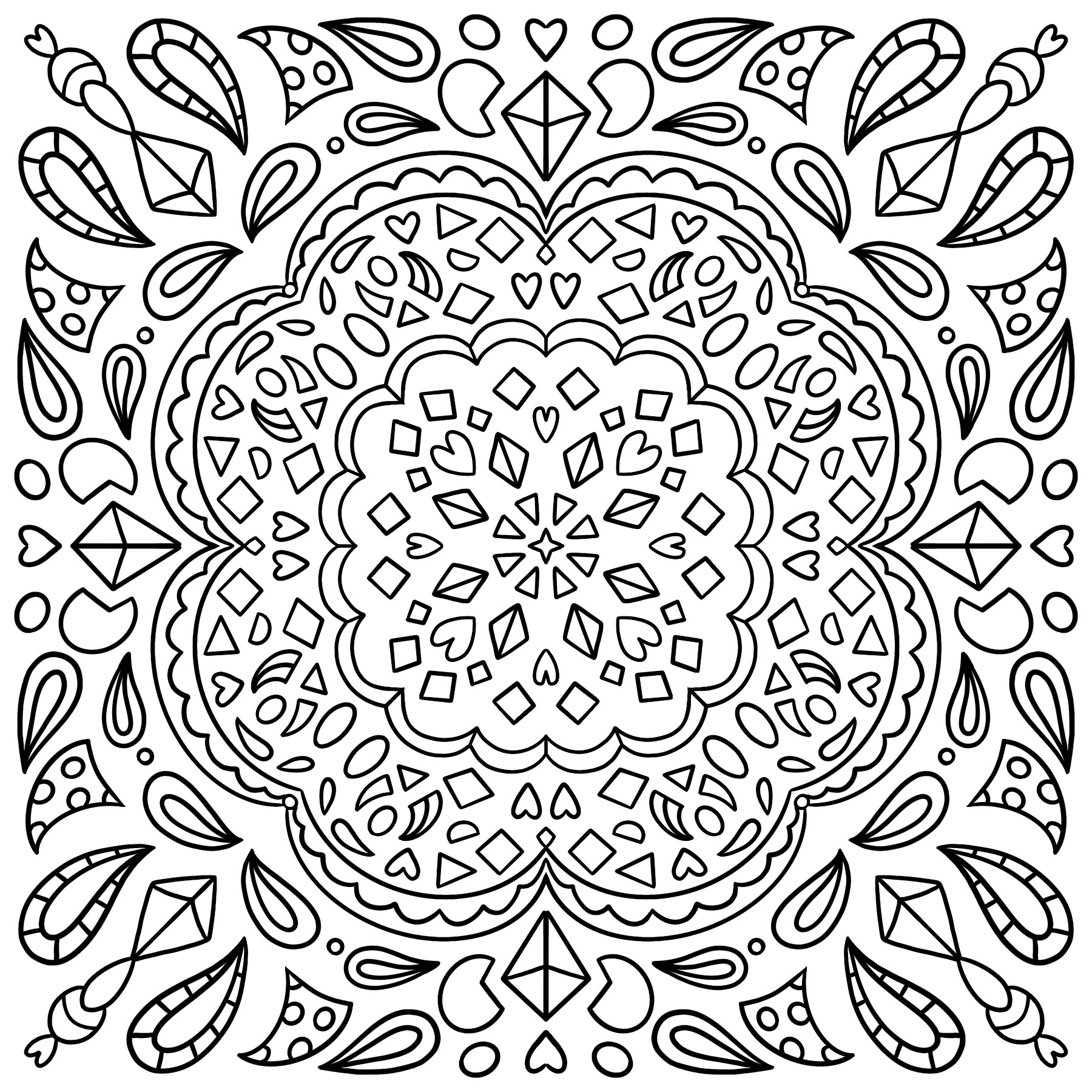Geometric shapes colouring page