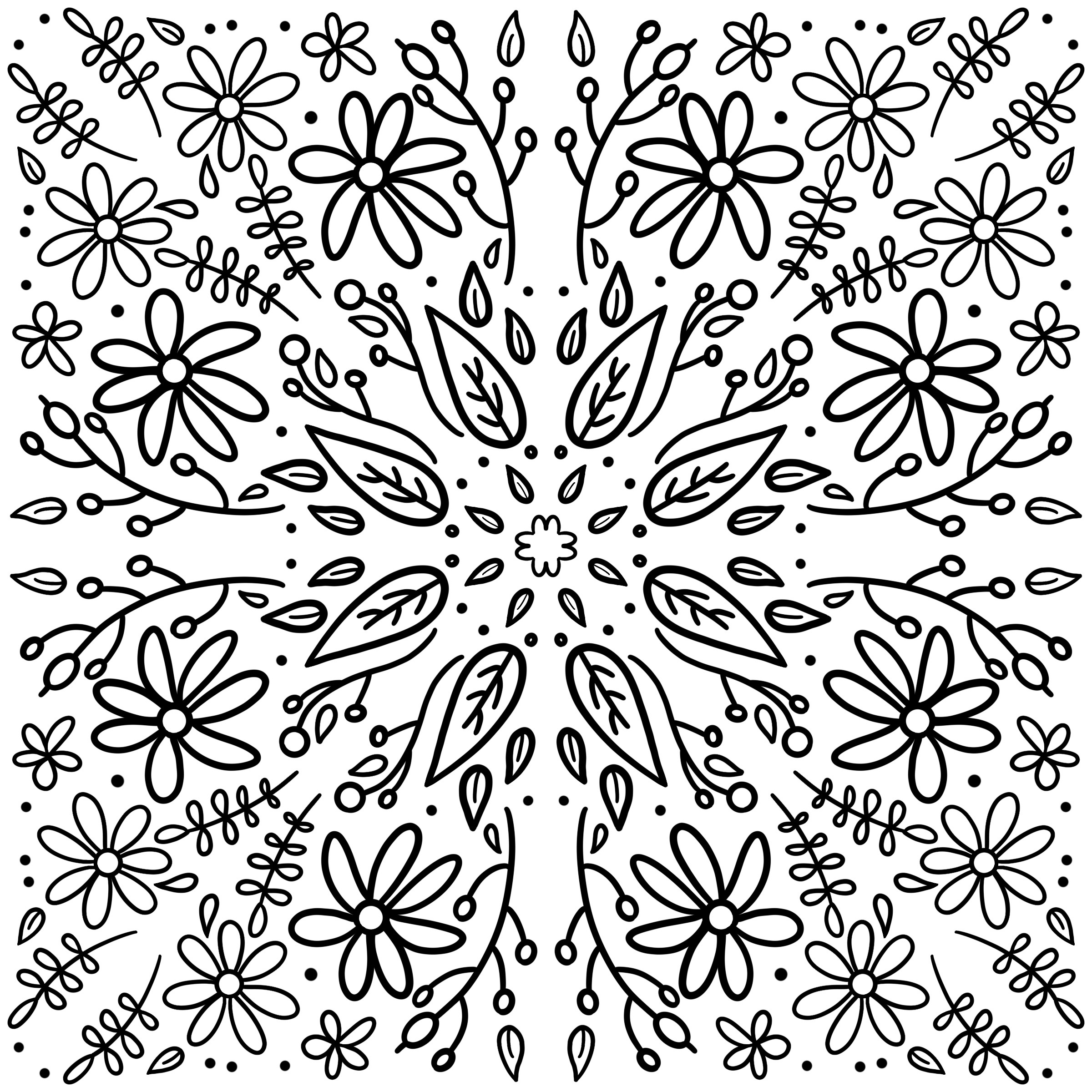 Leaves and flowers colouring page
