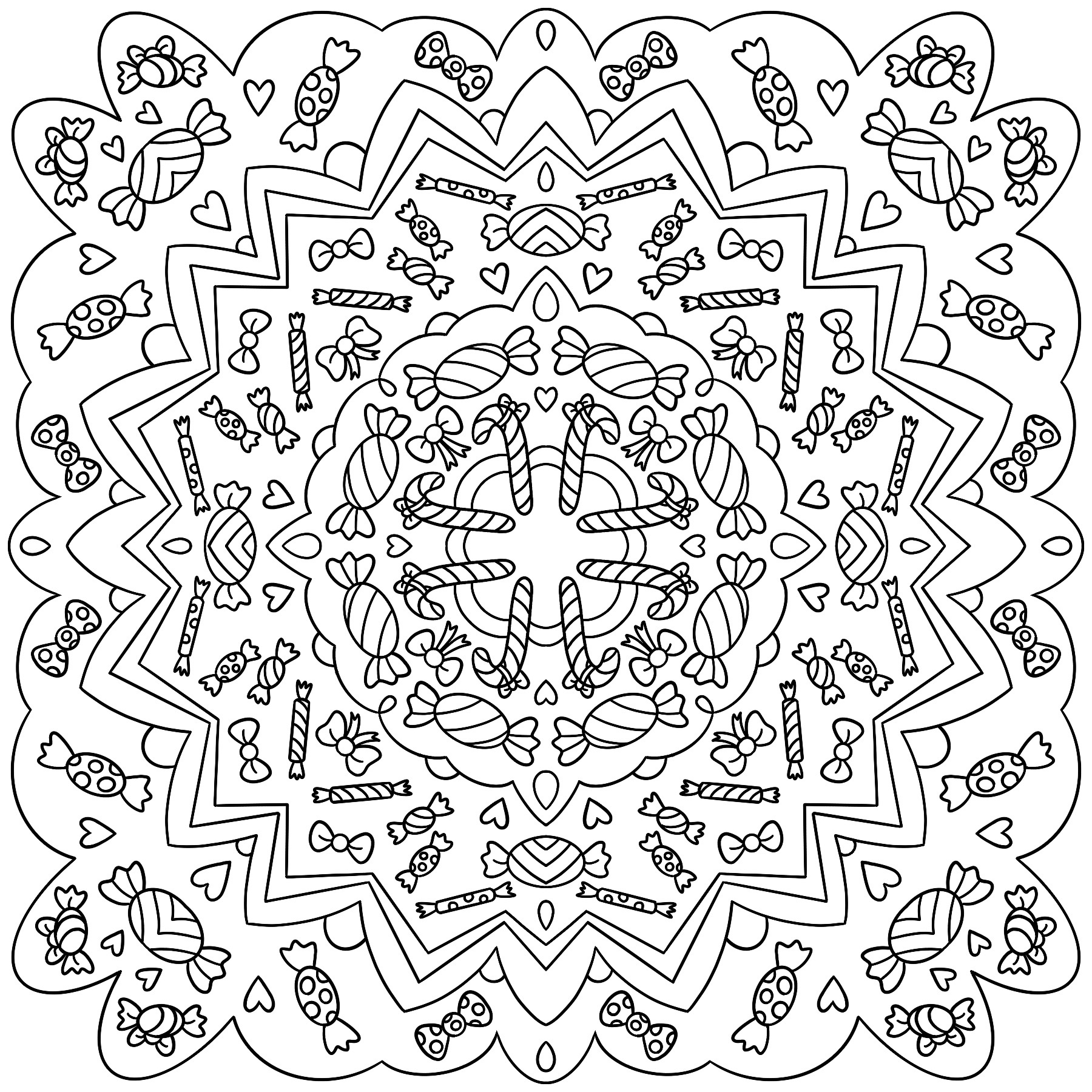 Sweets colouring page
