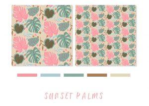 Sunset Palms swatch and pattern
